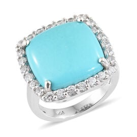 10.75 Ct Sleeping Beauty Turquoise and Cambodian Zircon Halo Ring in Sterling Silver 4.35 Grams