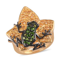 GP Russian Diopside (Rnd), Citrine and Blue Sapphire Frog on Maple Leaf Ring in 14K Gold and Black O