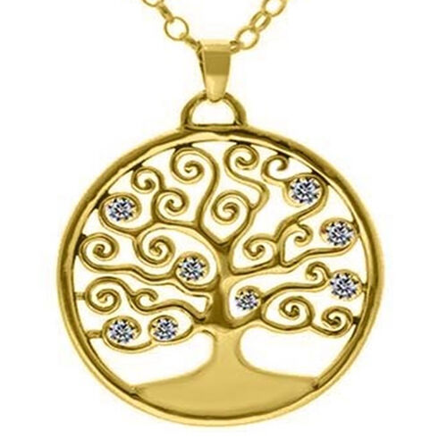 ELANZA Simulated Diamond Tree-of-Life Pendant with Chain (Size 18) in Yellow Gold Overlay Sterling S