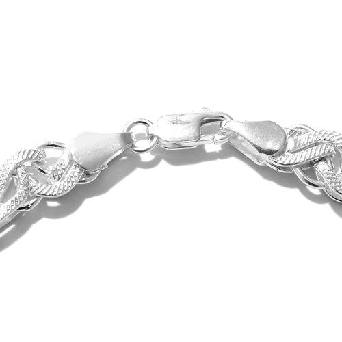 One Time Mega Deal-Sterling Silver Fancy Curb Bracelet (Size 7.5), Silver wt 16.05 Gms