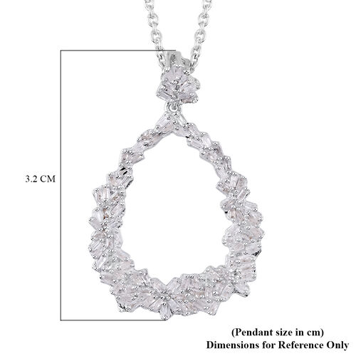 GP - White Diamond and Blue Sapphire Drop Pendant with Chain (Size 18) in Platinum Overlay Sterling Silver 0.54 Ct.