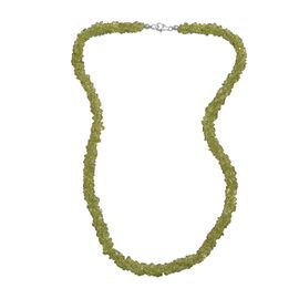 One Time Deal- Hebei Peridot Necklace (Size 20) in Platinum Overlay Sterling Silver 164.00 Ct.