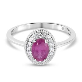 Pink Ruby (FF) and Natural Cambodian Zircon Ring in Platinum Overlay Sterling Silver 1.16 Ct.