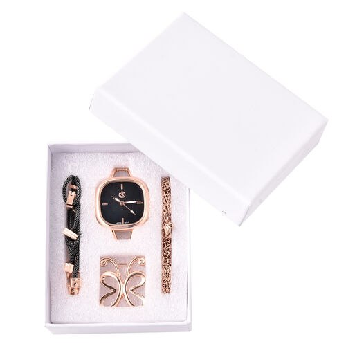 3 Piece Set - STRADA Japanese Movement Black Dial Water Resistant Watch with Chain (Size 24), Bracelet (Size 7.5) and Butterfly Charm in Rose Gold and Black Tone