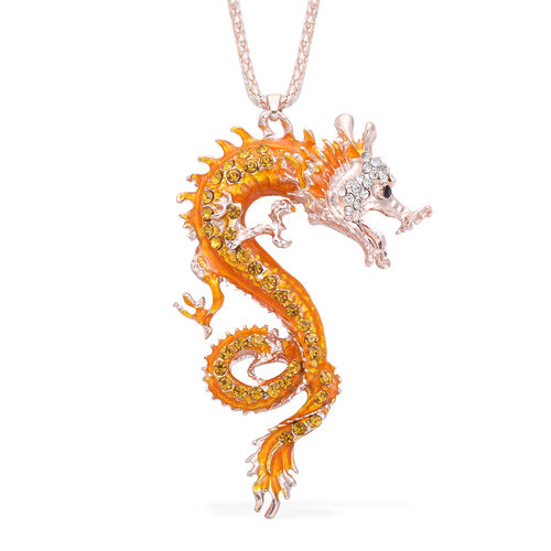 Multi Colour Austrian Crystal Enamelled Dragon Pendant with Chain (Size 30 with Extender) in Rose Go