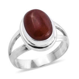 Bali Legacy Collection Red Jade (Ovl 14x10 mm) Ring (Size O) in Sterling Silver 7.400 Ct.