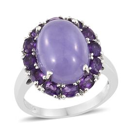 Purple Jade (Ovl 11.00 Ct), Amethyst and Natural Cambodian Zircon Ring in Platinum Overlay Sterling Silver 13.000 Ct. Silver wt 4.61 Gms.