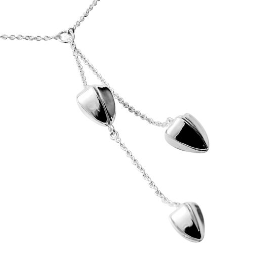 Sterling Silver Necklace (Size 20) with Tulip Drop, Silver wt 12.42 Gms.