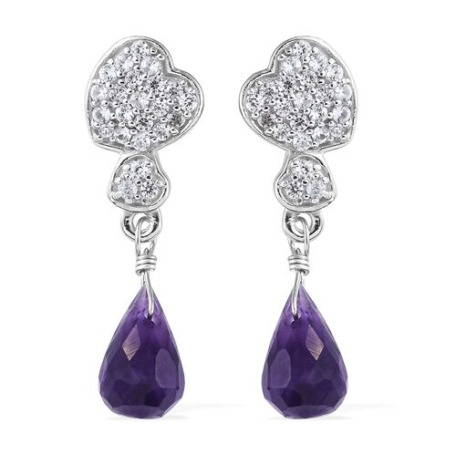 GP Amethyst Drop, Natural White Cambodian Zircon and Kanchanaburi Blue Sapphire Earrings (with Push