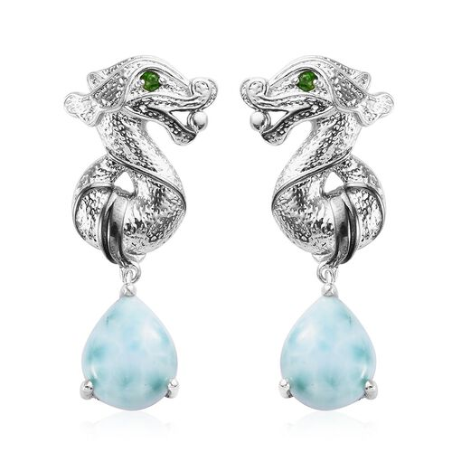 Larimar, Russian Diopside Seahorse Drop Earrings in Platinum Overlay Sterling Silver 10.88 Ct, Silve