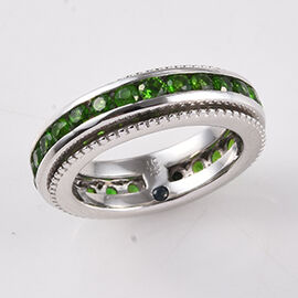 GP - Russian Diopside (Rnd), Blue Sapphire Ring in Platinum Overlay Sterling Silver 2.77 Ct, Silver