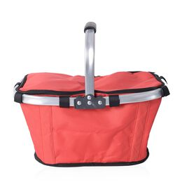 Lightweight Collapsible Insulated Picnic  Basket Hamper with Aluminium Handles (Size 42x28.5 Cm) - R