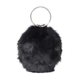 Black Colour Faux Fur Bag (Size 20x19 Cm)