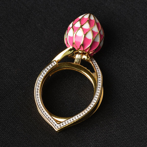 GP - 2A African Ruby (FF), Natural Cambodian Zircon and Blue Sapphire Enamelled Lotus Reveal Ring in 14K Gold Overlay Sterling Silver 3.14 Ct, Silver wt 9.50 Gms