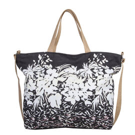 Bulaggi Collection - Flower Zebra Shopping Bag in Black and Beige (Size 50x36x12 Cm)