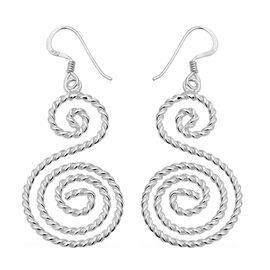 Sterling Silver Double Swirl Hook Earrings, Silver wt 4.92 Gms