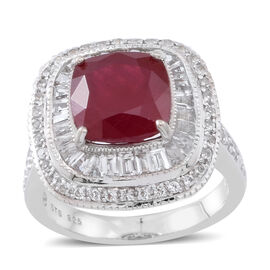 African Ruby (Cush 6.50 Ct), White Topaz Ring in Rhodium Plated Sterling Silver 10.000 Ct.?