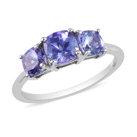 One Time Deal- Premium Tanzanite  in Platinum Overlay Sterling Silver Ring 1.500 Ct.