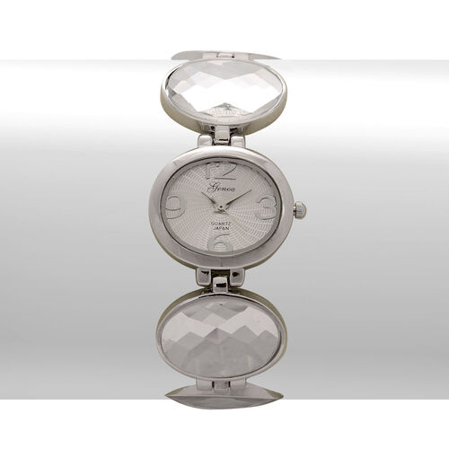 GENOA Japanese Movement White Dial Water Resistant Watch in Silver Tone with White Glass Strap