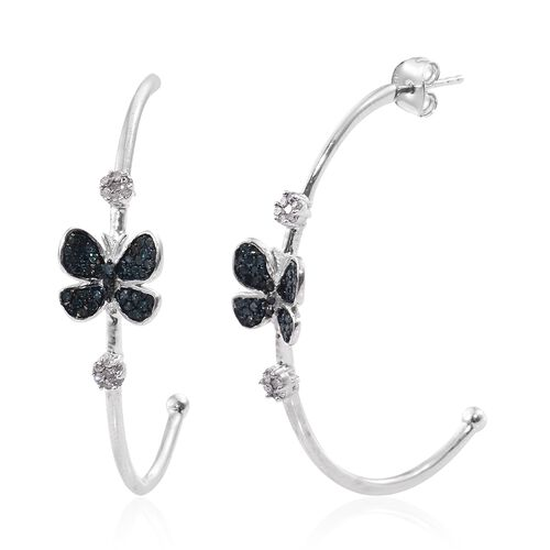 Blue Diamond (Rnd), White Diamond Butterfly Earrings (with Push Back) in Platinum Overlay Sterling S