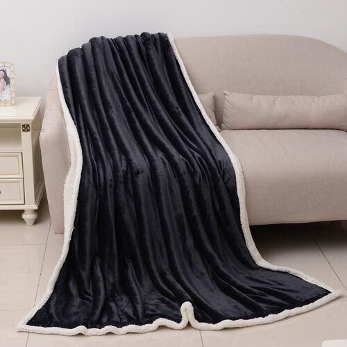 Super Auction-Black Colour Supersoft Reversible Flannel Sherpa Blanket (150x200 cm)