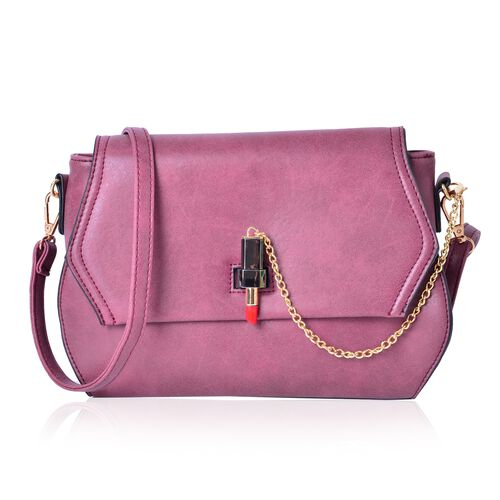 Dark Fuchsia Colour Lipstick Design Lock Crossbody Bag with Adjustable and  Removable Shoulder Strap (Size 26X18X8 Cm)