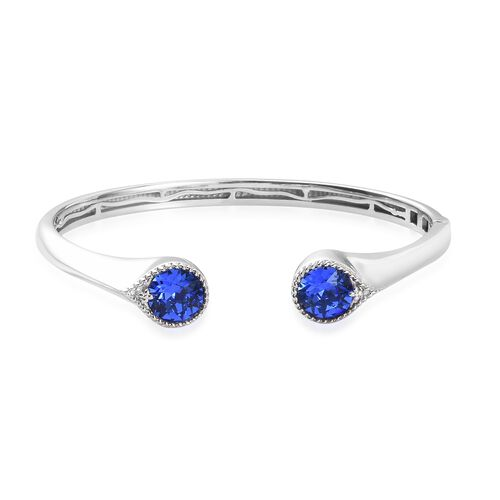 J Francis - Crystal from Swarovski Sapphire Colour Crystal Cuff Bangle (Size 7.5) in Platinum Plated
