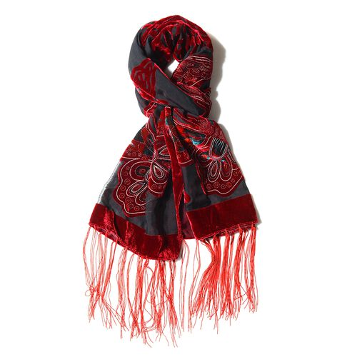 Red and Black Colour Butterfly Pattern Scarf (Size 160x52 Cm)