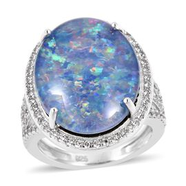 Boulder Opal and White Zircon Halo Ring in Sterling Silver 7.5 Grams