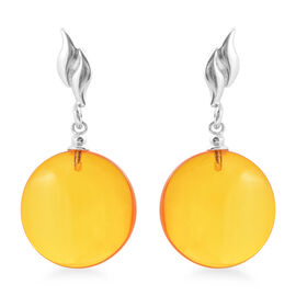 Baltic Amber (Rnd) Earrings (with Push Back) in Sterling Silver