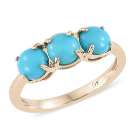 Limited Edition- 9K Yellow Gold AAA  Arizona Sleeping Beauty Turquoise(Rnd) Trilogy Ring 1.500 Ct
