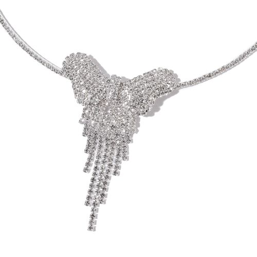 AAA White Austrian Crystal Butterfly Choker Necklace (Size 18 with 2 inch Extender) and Earrings (with Push Back) in Silver Tone