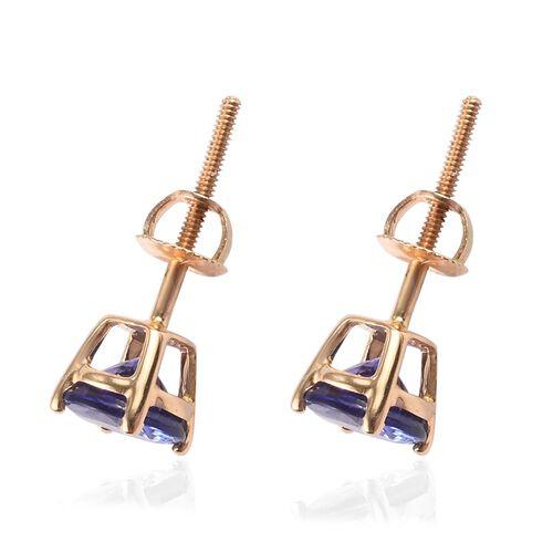 ILIANA 18K Yellow Gold AAA Tanzanite Stud Earrings (with Screw Back) 1.75 Ct.