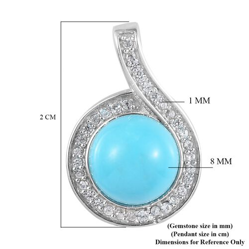 Arizona Sleeping Beauty Turquoise and Natural Cambodian Zircon Pendant in Platinum Overlay Sterling Silver 4.04 Ct.