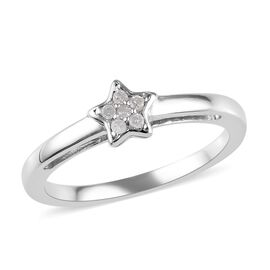 Diamond Star Stacker Ring in Platinum Overlay Sterling Silver