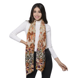 100% Merino Wool Leopard and Floral Pattern Scarf (Size 65x180cm) - Brown and Multi Colour