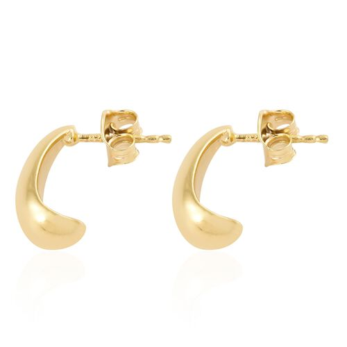 14K Yellow Gold Overlay Sterling Silver J Hoop Earrings (with Push Back)