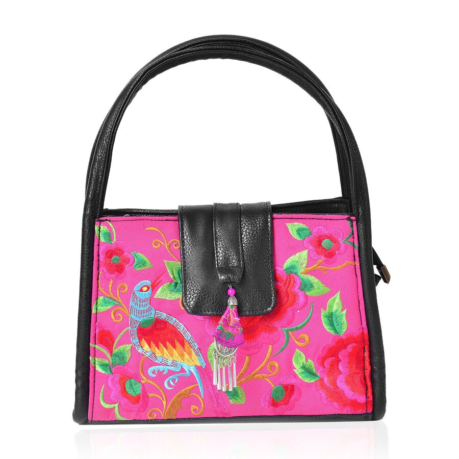 shanghai collection black pink and multi colour flower and bird pattern tote bag size 28x18. Black Bedroom Furniture Sets. Home Design Ideas