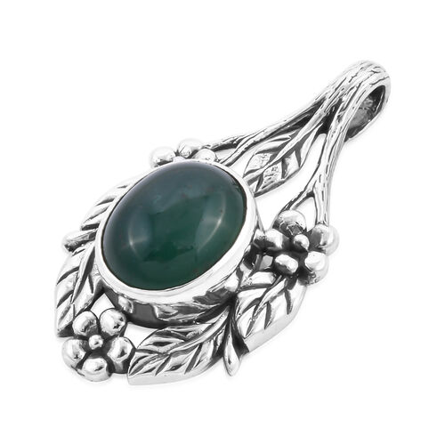 Royal Bali Collection - Australian Chrysoprase Floral Leaf Pendant in Sterling Silver 3.96 Ct.