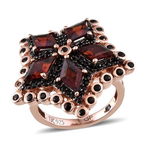 GP Mozambique Garnet, Kanchanaburi Blue Sapphire and Boi Ploi Black Spinel Ring in Rose Gold Overlay