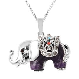 27.50 Ct Amethyst and Multi Colour Austrian Crystal Elephant Pendant with Chain