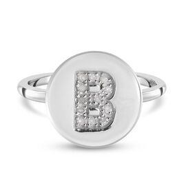 White Diamond Initial-B Ring in Platinum Overlay Sterling Silver