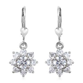 J Francis - Platinum Overlay Sterling Silver (Rnd) Floral Lever Back Earrings Made with SWAROVSKI ZI