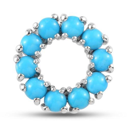 Arizona Sleeping Beauty Turquoise Pendant in Platinum Overlay Sterling Silver