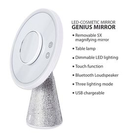 3-in-1 Lighted Makeup Mirror with Bluetooth Speaker, Removable Magnifying Mirror and Table Lamp in 3