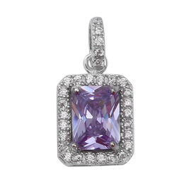 ELANZA Simulated Amethyst and Simulated Diamond Halo Pendant in Rhodium Plated Sterling Silver