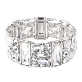 Simulated Diamond (Bgt and Sqr), White Austrian Crystal Bracelet (Size 6.75 Adjustable) in Silver Pl