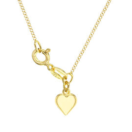 Yellow Gold Overlay Sterling Silver Heart Curb Chain (Size 18 Adjustable)