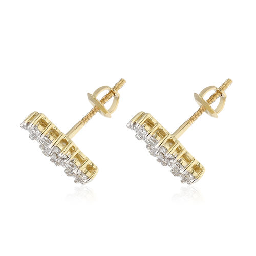 ILIANA 18K Yellow Gold IGI Certified (SI/G-H) Diamond (Bgt and Rnd) Earrings (with Screw Back) 1.000 Ct.