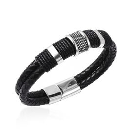 Men Bracelet in Stainless Steel Braided 8.5 Inch